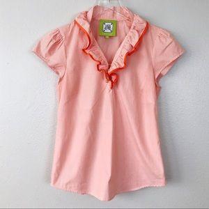 Elizabeth McKay Striped Ruffle Collar Shirt